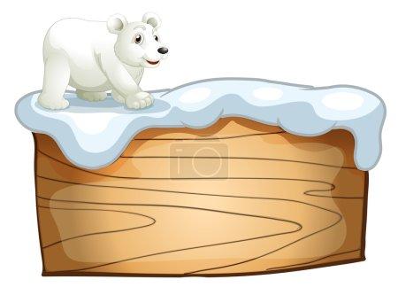 Illustration pour Illustration d'un ours polaire au-dessus de l'enseigne en bois vide sur fond blanc - image libre de droit