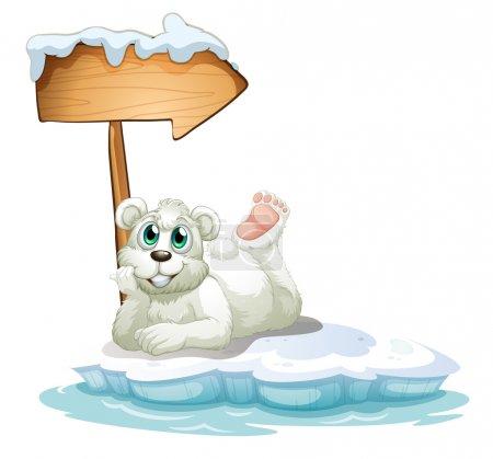 Illustration pour Illustration d'un ours polaire souriant sous la flèche en bois sur fond blanc - image libre de droit