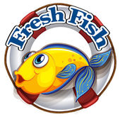A fresh fish label with an image of a fish
