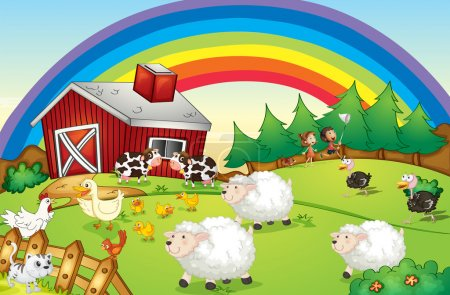 Illustration for Illustration of a farm with many animals and a rainbow in the sky - Royalty Free Image