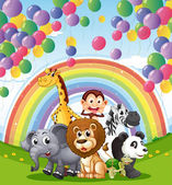 Animals below the floating balloons and rainbow