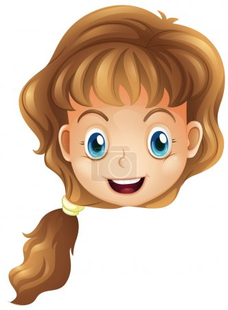 Illustration for Illustration of a head of a smiling girl on a white background - Royalty Free Image