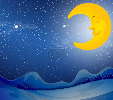 Illustration for Illustration of a sleeping moon - Royalty Free Image