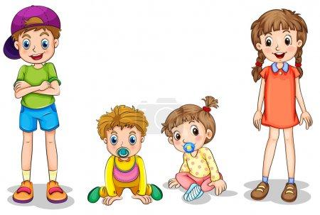 Illustration pour Illustration des deux enfants et deux nourrissons sur fond blanc - image libre de droit