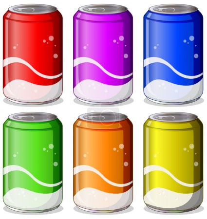 Illustration for Illustration of the six colorful soda cans on a white background - Royalty Free Image