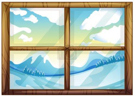 Illustration pour Illustration d'une vue de l'hiver depuis la fenêtre sur fond blanc - image libre de droit