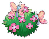 Illustration of the two butterflies near the plant with pink flowers on a white background