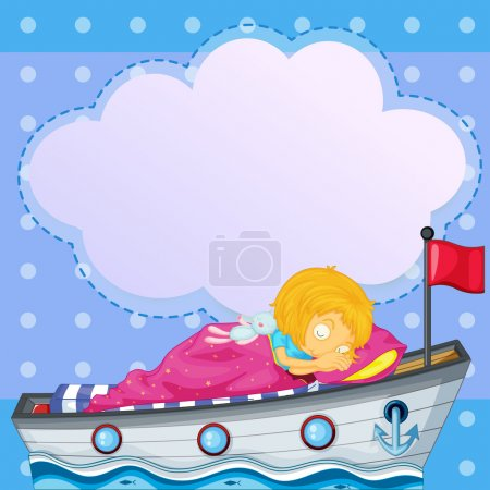 Illustration for Illustration of a girl sleeping above the boat with an empty callout - Royalty Free Image