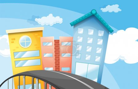 Illustration for Illustration of a road near the tall buildings - Royalty Free Image