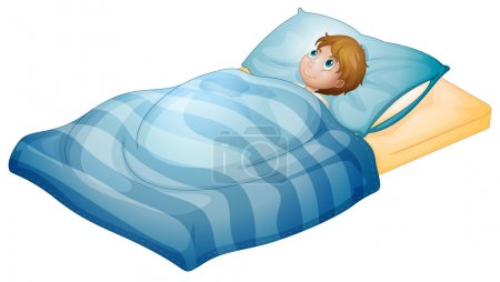 Illustration pour Illustration d'un garçon allongé dans son lit sur un fond blanc - image libre de droit