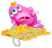 A lucky pink monster lying with the treasures