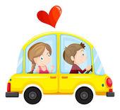 žluté auto s milující pár
