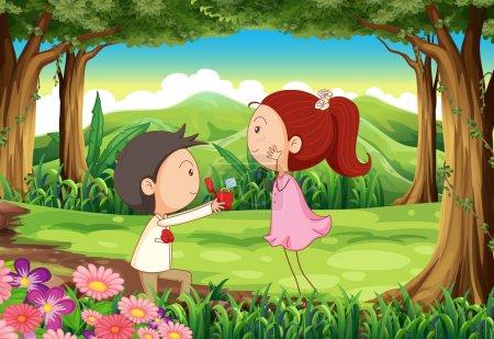 une proposition de mariage à la forêt