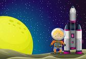An astronaut standing beside the rocket near the moon