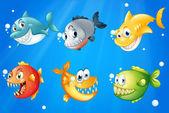 šest barevné ryby v hlubokých vodách