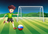 Illustration of a soccer player from Russia kicking the ball