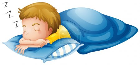 Illustration for Illustration of a little boy sleeping on a white background - Royalty Free Image