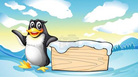 Illustration pour Illustration d'un pingouin à côté de la planche de bois vide - image libre de droit