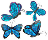 Illustration of the four butterflies on a white background