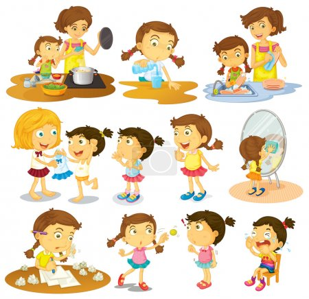 Illustration for Illustration of the different actions of a young girl on a white background - Royalty Free Image