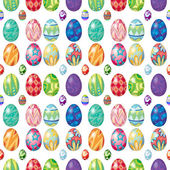 Illustration of the seamless design with Easter eggs on a white background