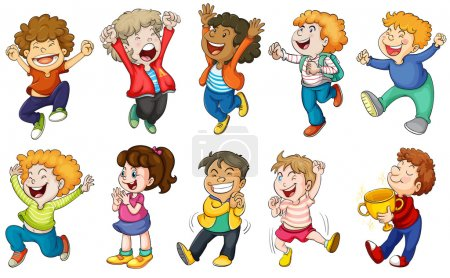 Illustration for Illustration of the happy kids on a white background - Royalty Free Image