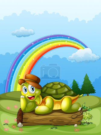 A happy turtle above the log and the rainbow in the sky