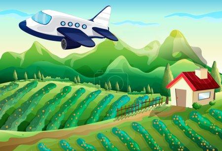 An airplane above the farm