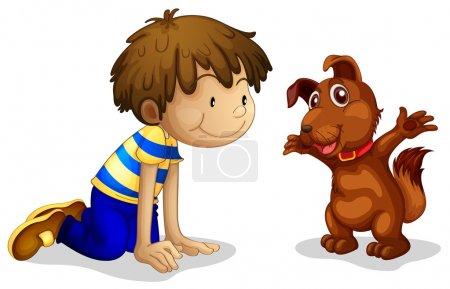 Illustration pour Illustration d'un garçon et de son animal de compagnie brun sur fond blanc - image libre de droit