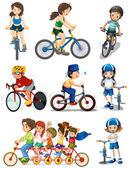 People biking