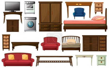 Illustration for Illustration of the house furnitures and appliances on a white background - Royalty Free Image