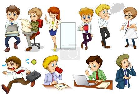 Illustration pour Illustration de l'esprit d'entreprise personnes se livrant à différentes activités sur un fond blanc - image libre de droit