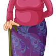 Illustration of an old woman with a cane on a whit...