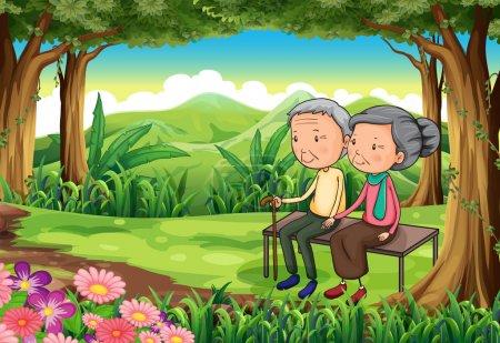 Ilustración de Ilustración de un bosque con una pareja de ancianos - Imagen libre de derechos