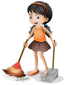 A young girl sweeping
