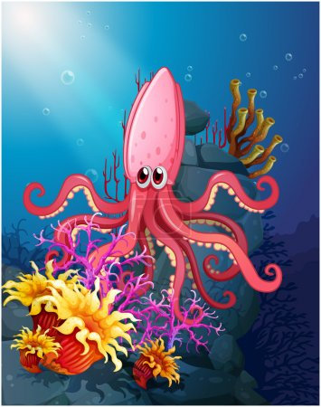 A big squid under the sea with the corals