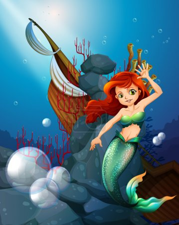 A sea with a mermaid near the wrecked boat