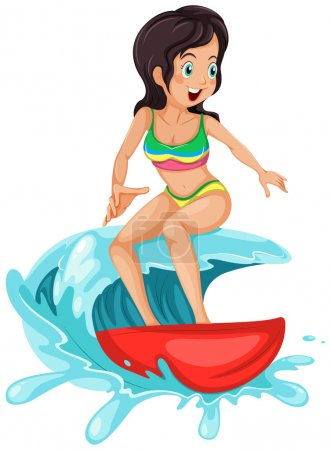A young lady surfing