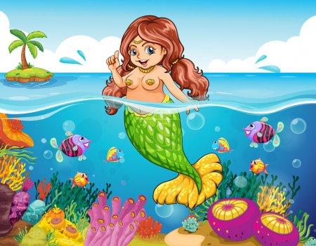 Illustration pour Illustration d'une mer avec une sirène souriante - image libre de droit