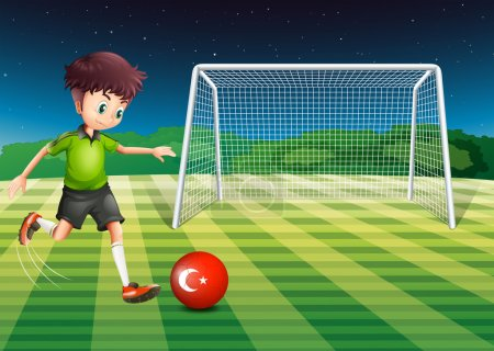 Illustration for Illustration of a boy kicking the ball at the field with the flag of Turkey - Royalty Free Image