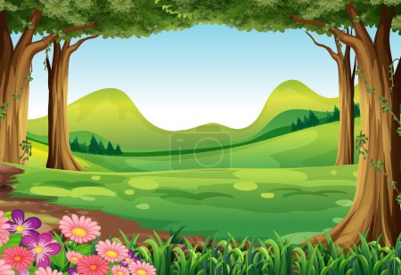 Illustration for Illustration of a green forest - Royalty Free Image
