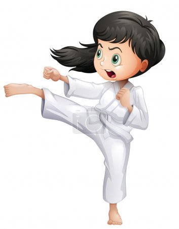 A young woman doing karate