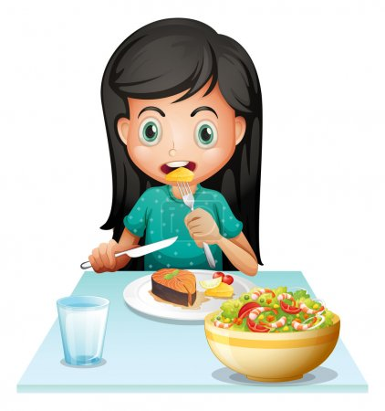 A girl eating her lunch