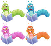 Four worms reading
