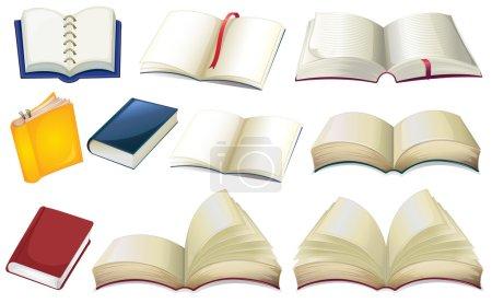Illustration pour Illustration des livres vides sur un fond blanc - image libre de droit