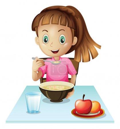 Illustration pour Illustration d'une fille prenant le petit déjeuner sur un fond blanc - image libre de droit