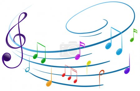 Illustration pour Illustration des notes musicales sur fond blanc - image libre de droit