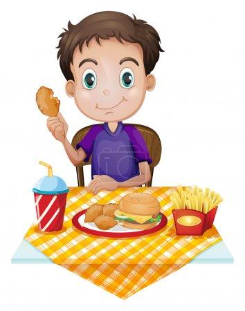 Illustration pour Illustration d'un jeune garçon mangeant dans un restaurant de restauration rapide sur fond blanc - image libre de droit