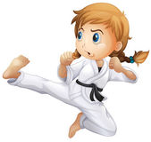 A female doing karate