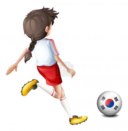 A girl kicking the ball with the South Korean flag